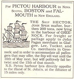 An advertisement for the Ship Hector bound for Pictou Harbour in Nova Scotia.