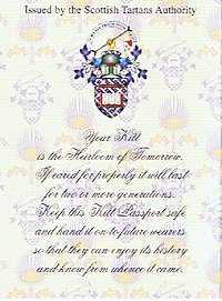 Inside front cover of the Kilt Passport