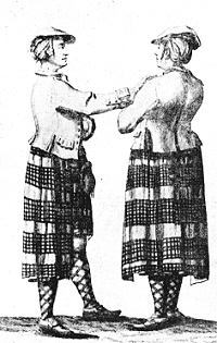 Two Highlanders in the belted plaid - engraving by van der Gucht. 1743