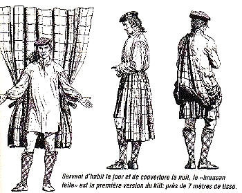 A simple French illustration of the belted plaid.