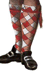 Chequered hose held up by garters.
